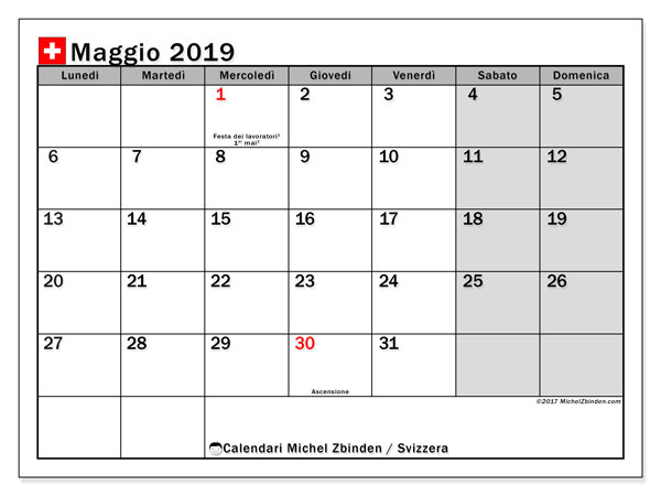 Calendario Mese Maggio 2019.Calendario Maggio 2019 Svizzera Michel Zbinden It