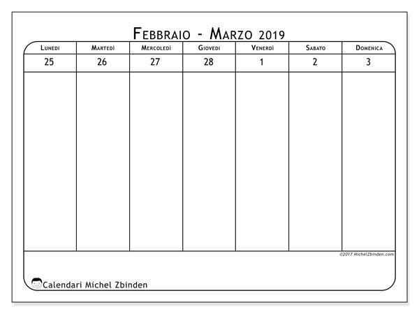 Calendario marzo 2019, 43-1LD. Calendario per la settimana da stampare gratuitamente.
