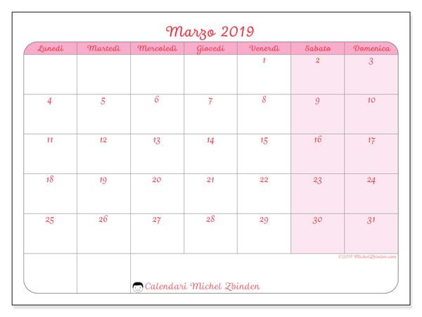 Calendario Di Marzo.Calendario Marzo 2019 63ld Michel Zbinden It