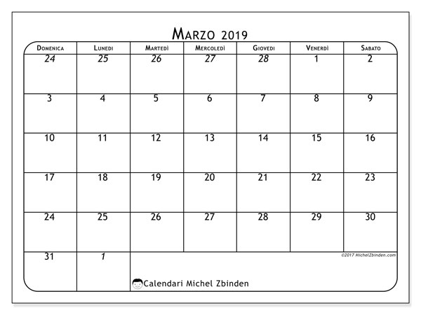 Calendario marzo 2019 (67DS)
