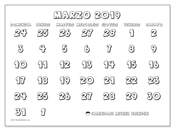Calendario marzo 2019 (71DS)