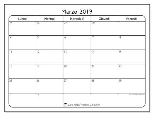 Calendario marzo 2019 (74DS)