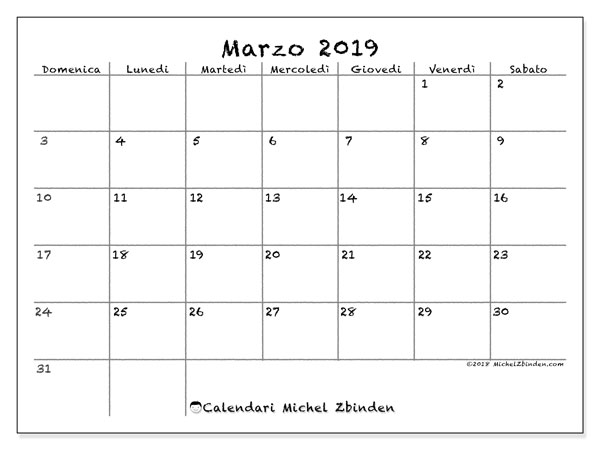 Calendario Di Marzo.Calendario Marzo 2019 77ds Michel Zbinden It
