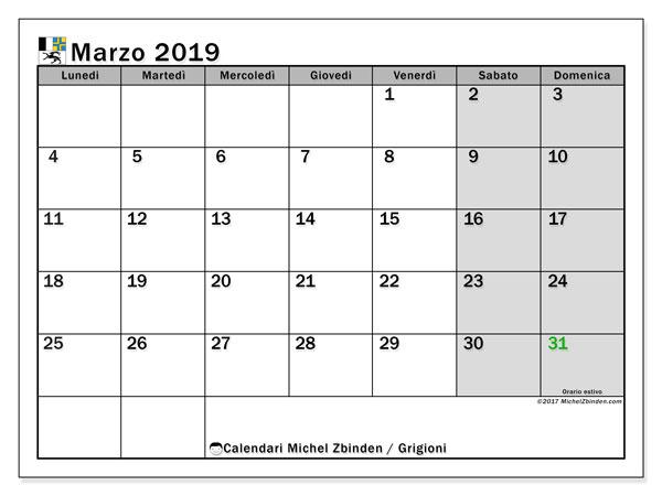 Calendario marzo 2019 - Grigioni. Calendario da stampare: festività ufficiali.