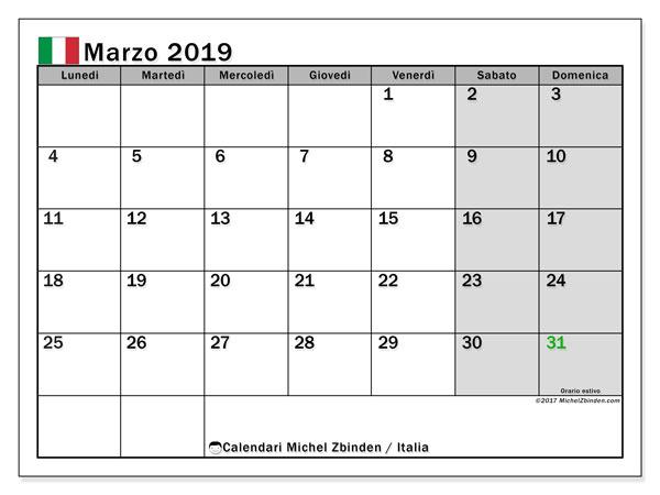 Calendari marzo 2019, con giorni festivi in Italia. Calendario per la stampa gratis.