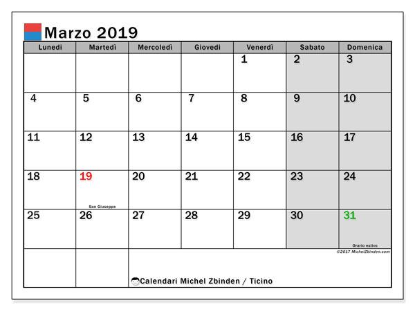 Calendari marzo 2019, con giorini festivi in Ticino. Calendario per la stampa gratis.