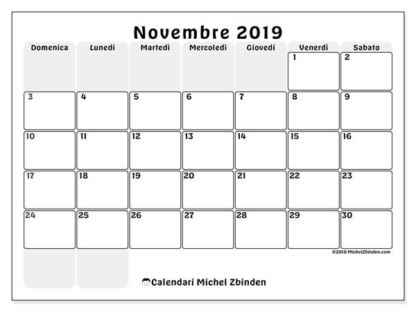 Calendario  novembre 2019, 44DS