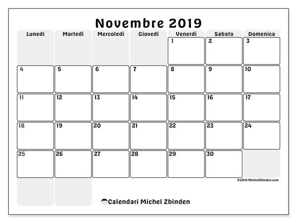 Calendario novembre 2019, 44LD. Calendario per il mese da stampare gratuitamente.