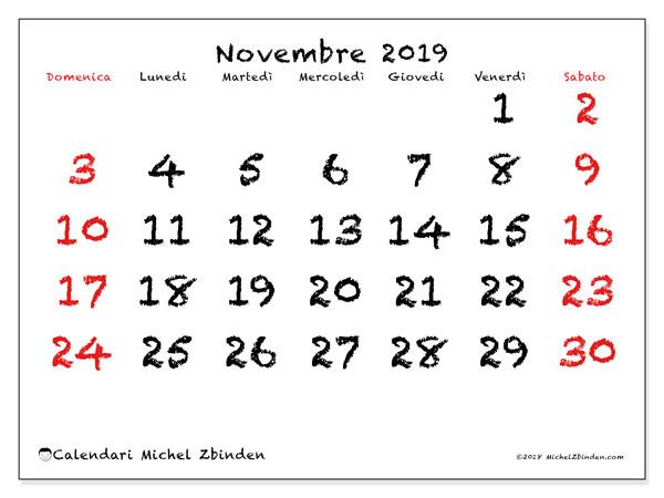 Calendario novembre 2019, 46DS. Calendario per il mese da stampare gratuitamente.