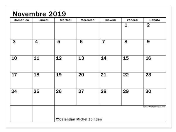 Calendario  novembre 2019, 50DS