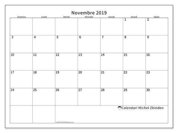 Calendario novembre 2019, 53DS. Calendario mensile da stampare gratuitamente.