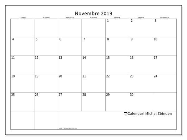 Calendario novembre 2019, 53LD. Calendario stampabile gratuito.