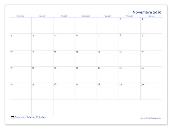Calendario novembre 2019, 55DS. Calendario stampabile gratuito.