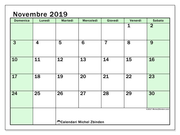 Calendario novembre 2019, 60DS. Calendario per la stampa gratis.