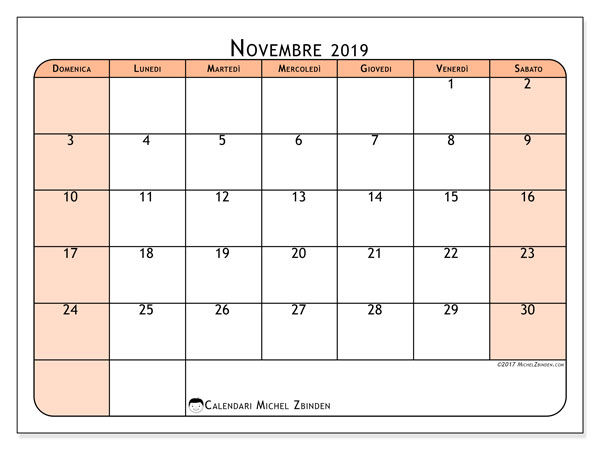 Calendario novembre 2019, 61DS. Orario da stampare gratis.
