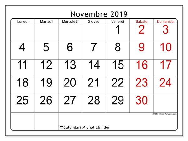Calendario novembre 2019, 62LD. Calendario per la stampa gratis.