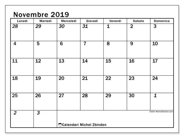 Calendario novembre 2019, 66LD. Calendario stampabile gratuito.