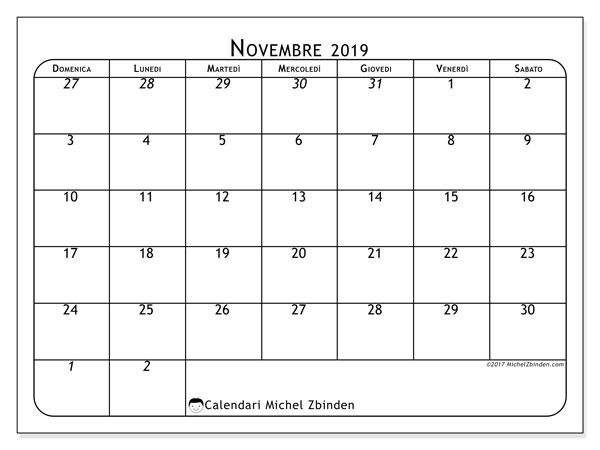 Calendario  novembre 2019, 67DS