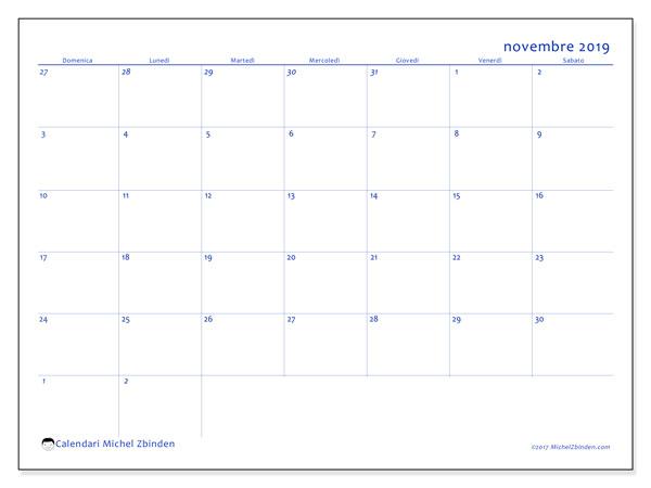 Calendario novembre 2019, 73DS. Calendario mensile da stampare gratuitamente.
