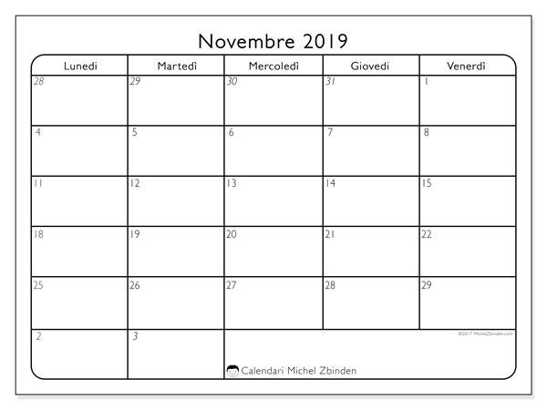 Calendario novembre 2019, 74DS. Calendario gratuito da stampare.
