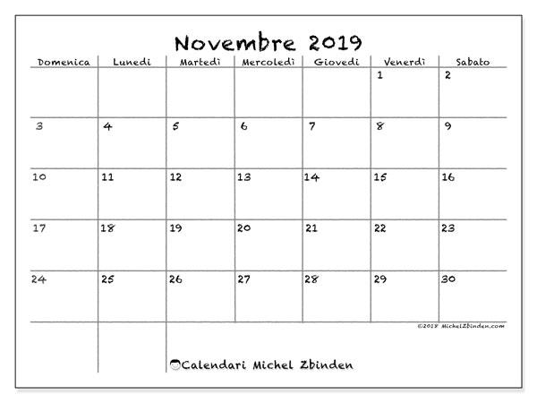 Calendario  novembre 2019, 77DS
