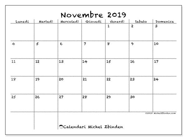 Calendario novembre 2019, 77LD. Calendario per il mese da stampare gratuitamente.