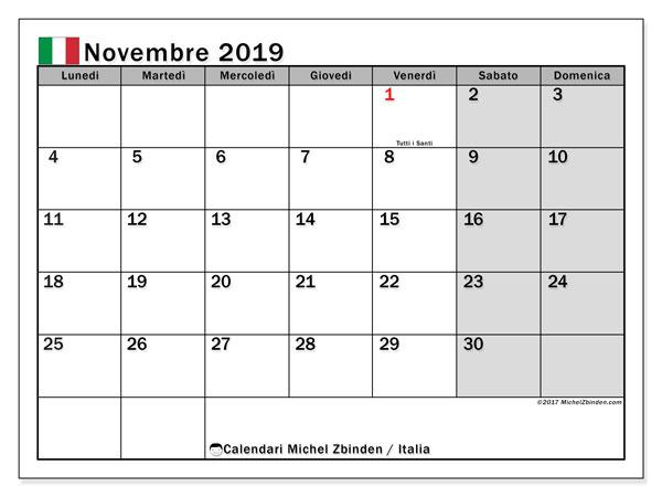 Calendari novembre 2019, con  in Italia. Calendario per la stampa gratis.