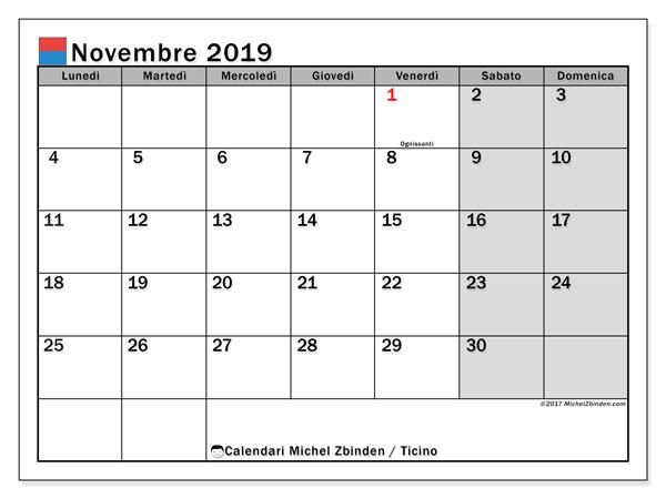 Calendari novembre 2019, con giorini festivi in Ticino. Calendario mensile da stampare gratuitamente.