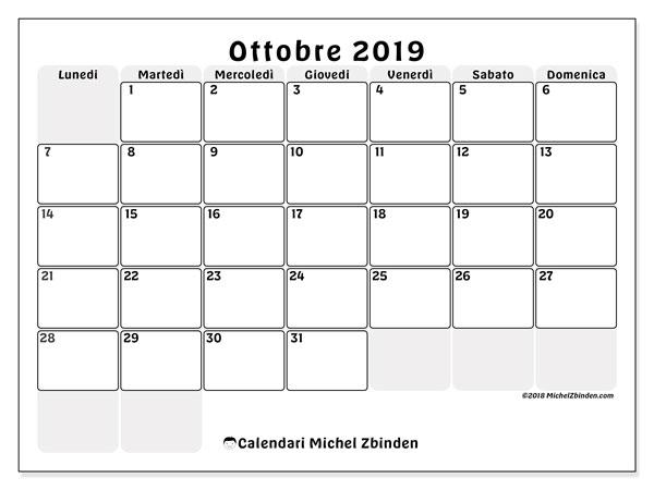 Calendario ottobre 2019, 44LD. Calendario per la stampa gratis.