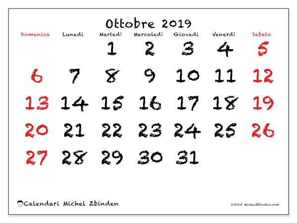Calendario ottobre 2019, 46DS. Calendario per il mese da stampare gratuitamente.