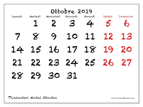 Calendario ottobre 2019, 46LD. Calendario per la stampa gratis.