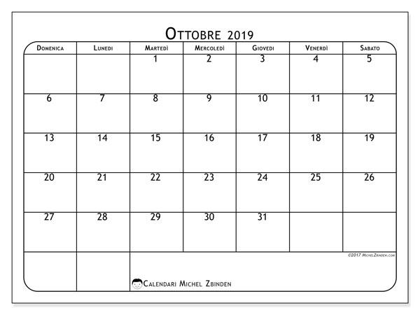 Calendario ottobre 2019, 51DS. Calendario per il mese da stampare gratuitamente.