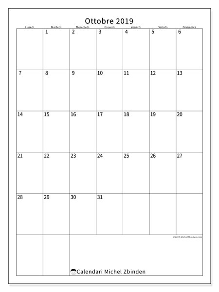 Calendario ottobre 2019, 52LD. Calendario gratuito da stampare.
