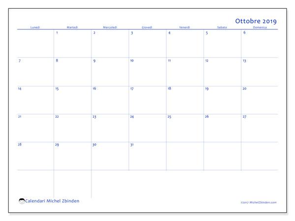 Calendario ottobre 2019, 55LD. Calendario per il mese da stampare gratuitamente.