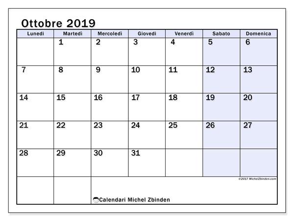 Calendario ottobre 2019, 57LD. Calendario mensile da stampare gratuitamente.