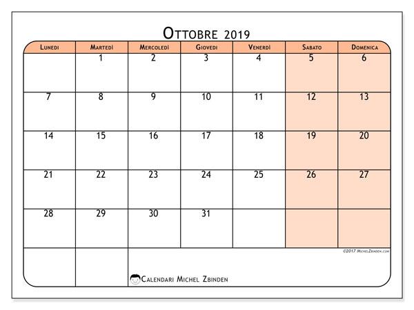 Calendario ottobre 2019, 61LD. Calendario mensile da stampare gratuitamente.