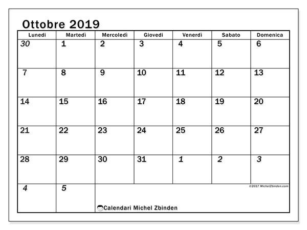 Calendario ottobre 2019, 66LD. Calendario stampabile gratuito.