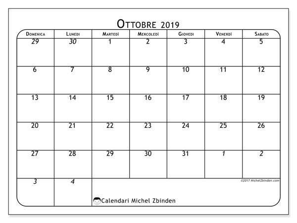 Calendario ottobre 2019, 67DS. Calendario per il mese da stampare gratuitamente.
