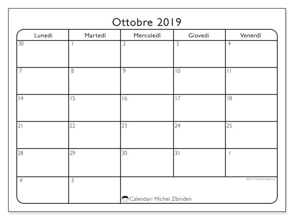 Calendario ottobre 2019, 74DS. Calendario da stampare gratis.