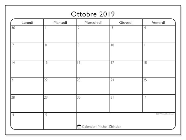 Calendario ottobre 2019, 74LD. Calendario gratuito da stampare.