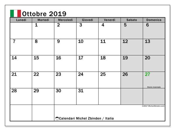 Calendari ottobre 2019, con  in Italia. Calendario per la stampa gratis.