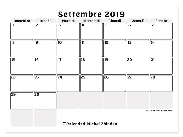 Calendario settembre 2019, 44DS. Calendario gratuito da stampare.
