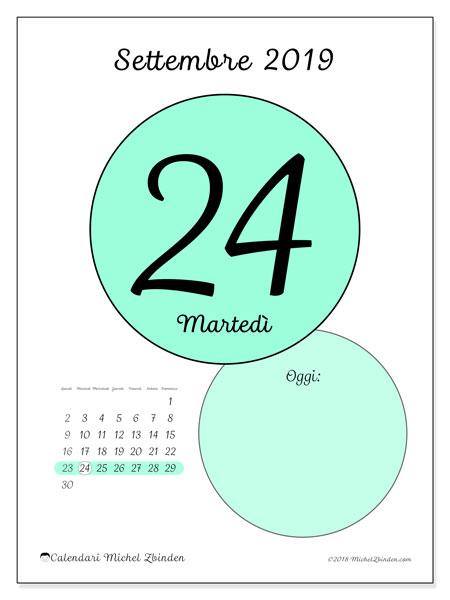 Calendario settembre 2019 (45-24LD). Calendario per il giorno da stampare gratuitamente.
