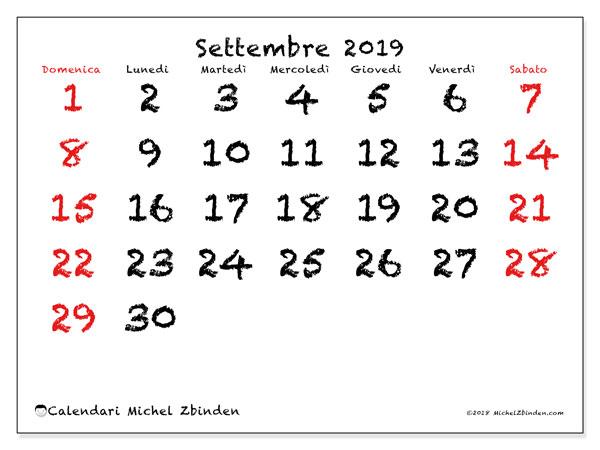 Calendario settembre 2019, 46DS. Calendario per il mese da stampare gratuitamente.