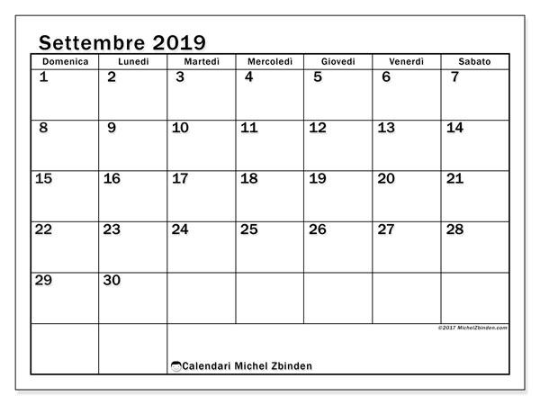Calendario settembre 2019, 50DS. Calendario per il mese da stampare gratuitamente.