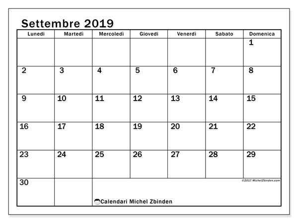 Calendario settembre 2019, 50LD. Calendario mensile da stampare gratuitamente.