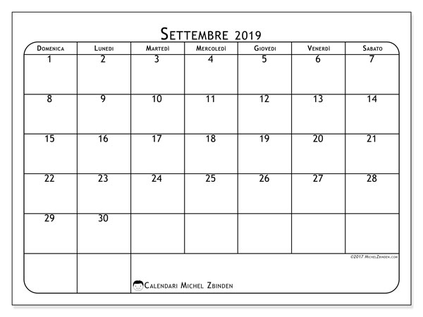Calendario settembre 2019, 51DS. Calendario da stampare gratis.