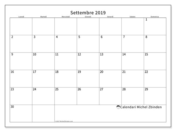 Calendario Da Settembre 2019 A Giugno 2020.Calendario Settembre 2019 53ld Michel Zbinden It