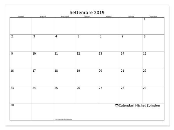 Calendario settembre 2019, 53LD. Orario da stampare gratis.