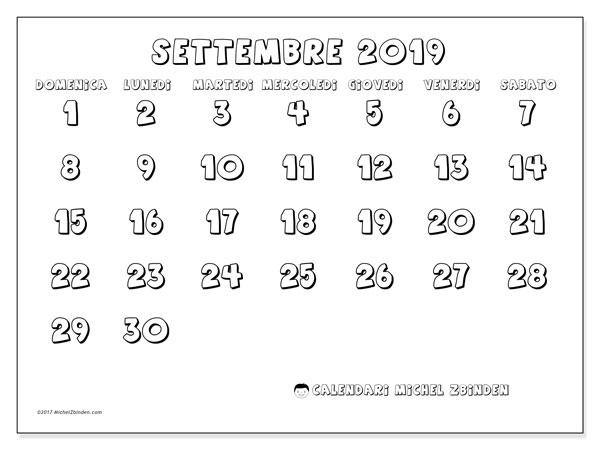 Calendario settembre 2019 (56DS)   Michel Zbinden IT